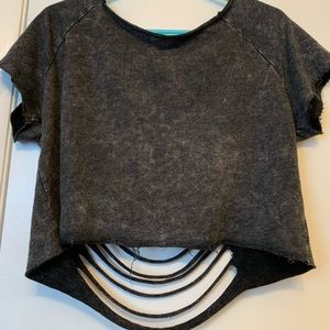 Black Faded Crop Top with openings in Back